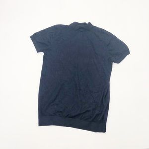 Zara Blue Mock Neck Short Sleeve Sweater